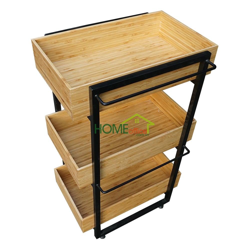 Kệ bếp gỗ tre khung sát 3 tầng
