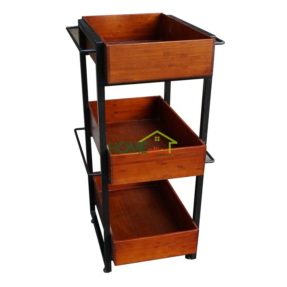 KB68006 - Kệ bếp gỗ tre màu cánh gián khung sắt 3 tầng ...