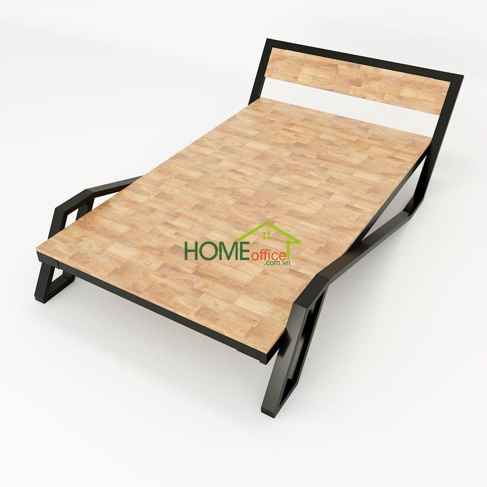 Giường ngủ belly khung sắt lắp ráp gỗ cao su