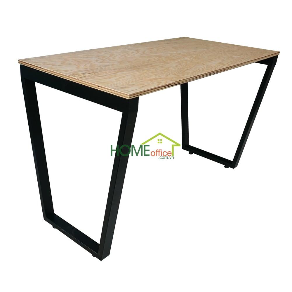 BPW002- Bàn gỗ Plywood chân sắt hệ Trapez lắp ráp