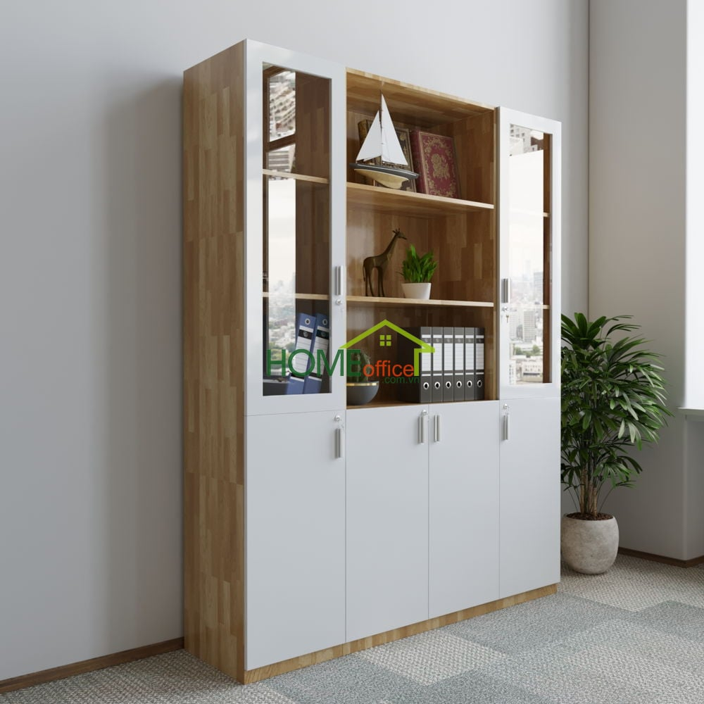 Tủ hồ sơ gỗ cao su module cụm 3 tủ