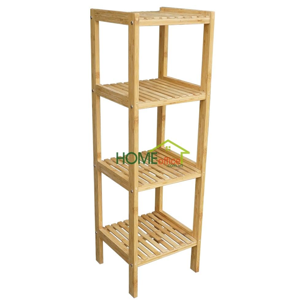 Kệ gỗ tre 4 tầng