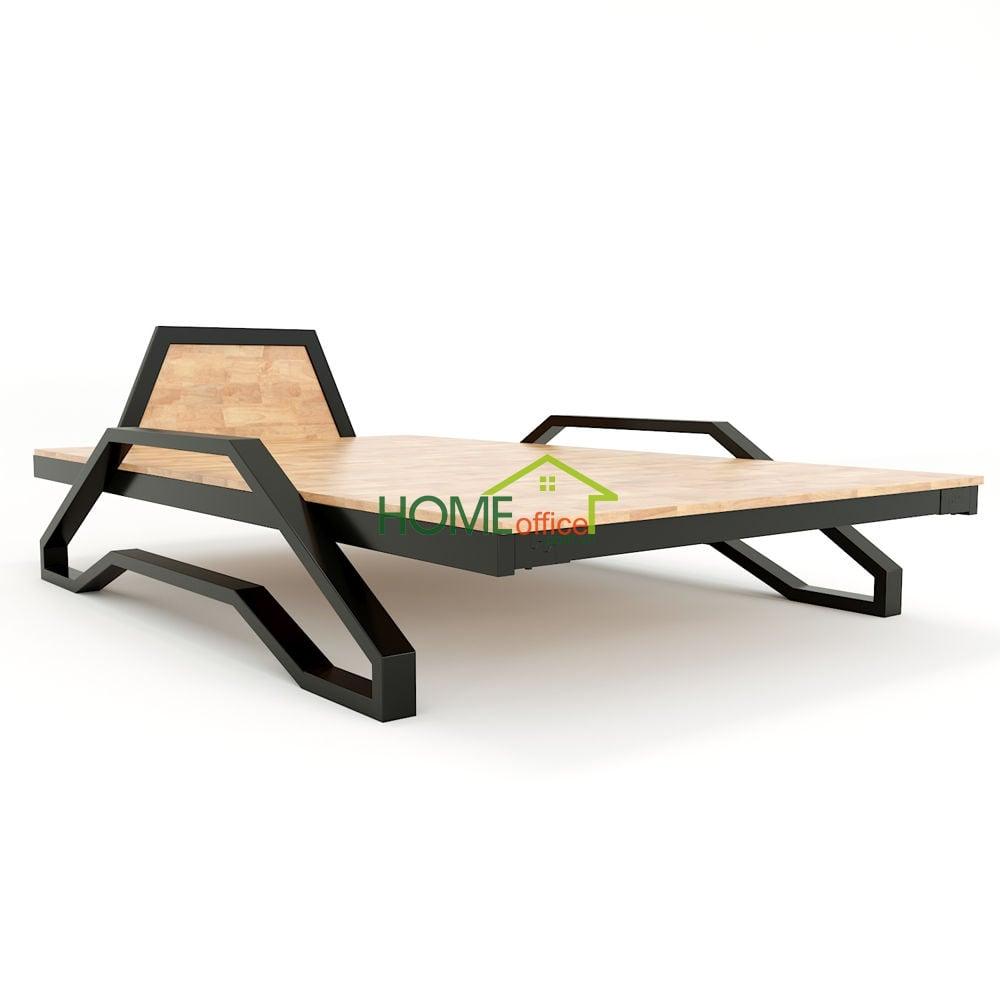 Giường gỗ cao su khung sắt có thể nằm không cần nệm