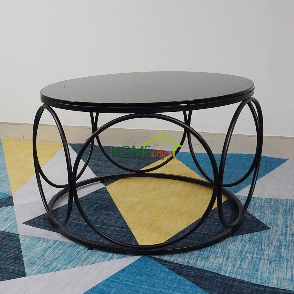 Bàn sofa hình trống khung sắt tròn mặt kính đen