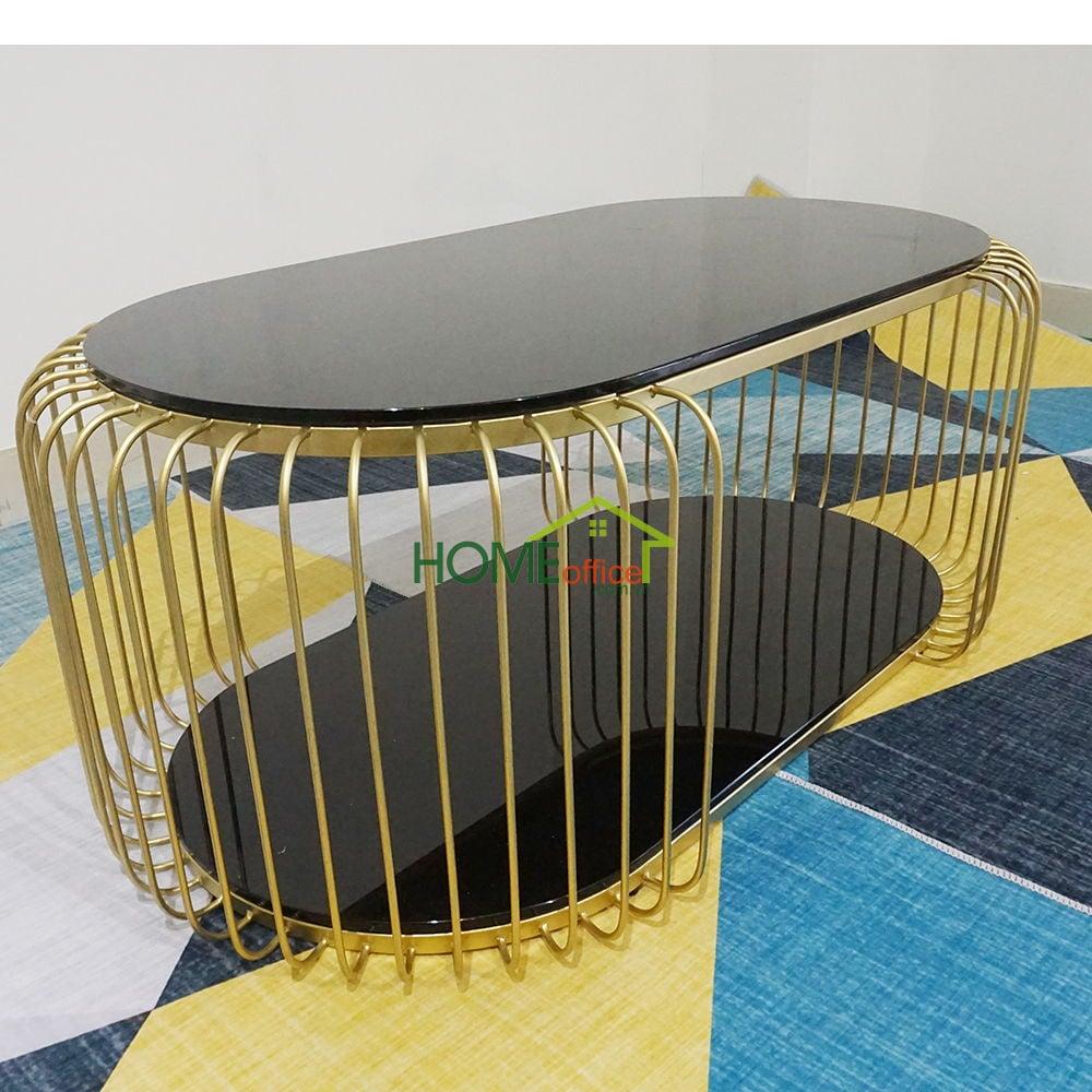 Bàn sofa mặt đá chân sắt màu đồng