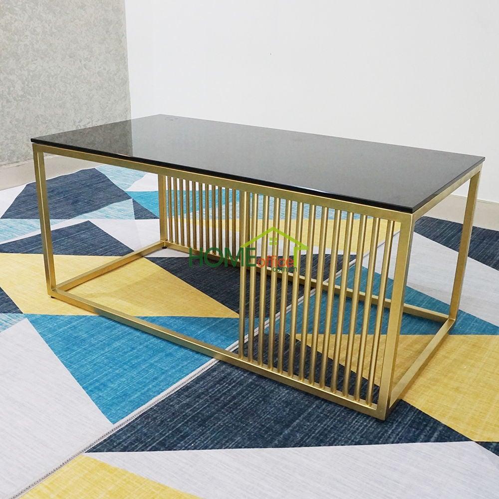 Bàn sofa chữ nhật 50x100cm mặt kính đen cường lực khung sắt sơn vàng đồng