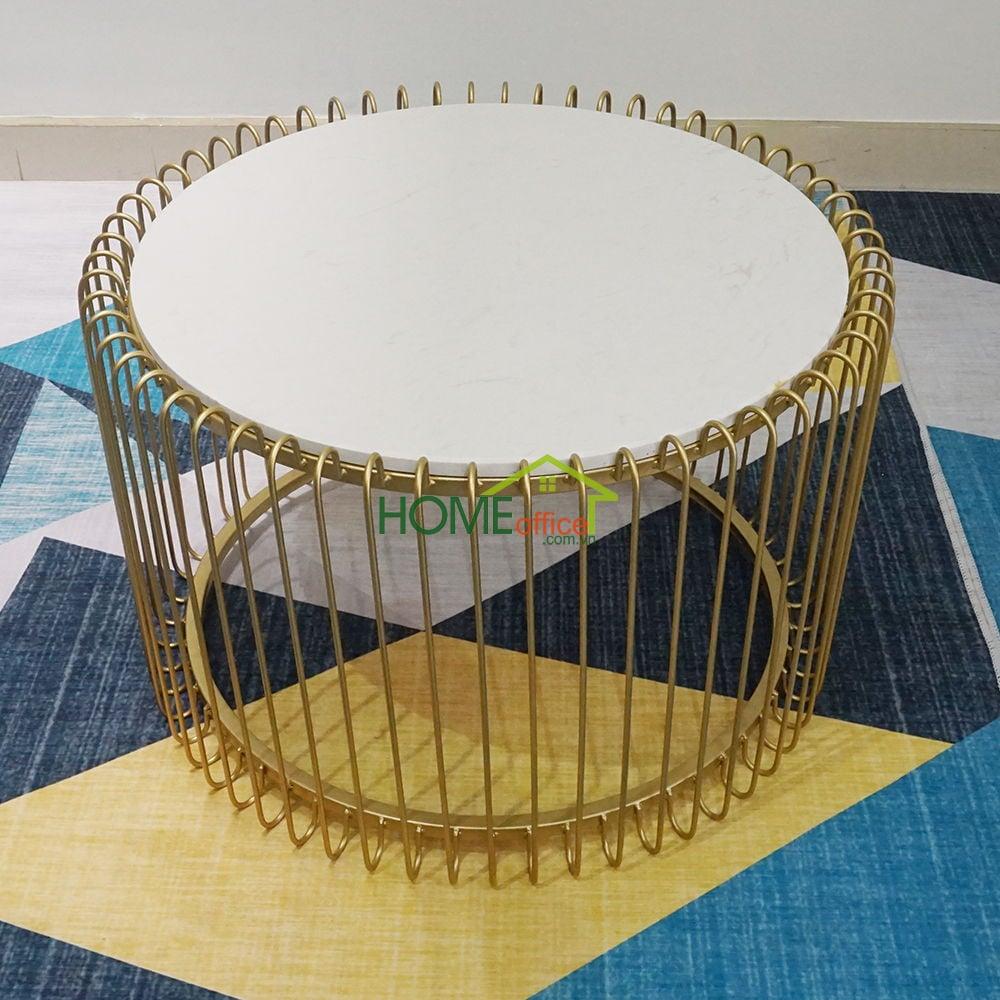 Bàn Sofa lồng chim màu vàng đồng mặt đá trắng