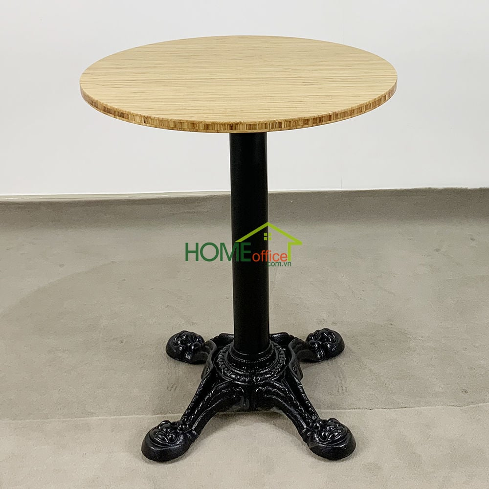 Bàn cafe gỗ TRE ÉP tròn 60cm chân gang đúc 4 chĩa