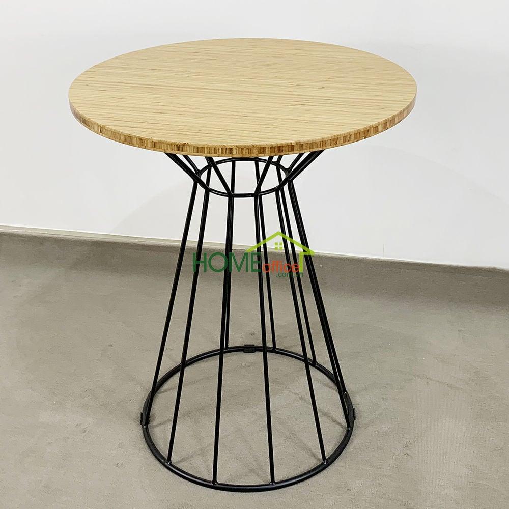 Bàn cafe gỗ TRE ÉP tròn 60cm chân sắt cổ lỏ Nhỏ