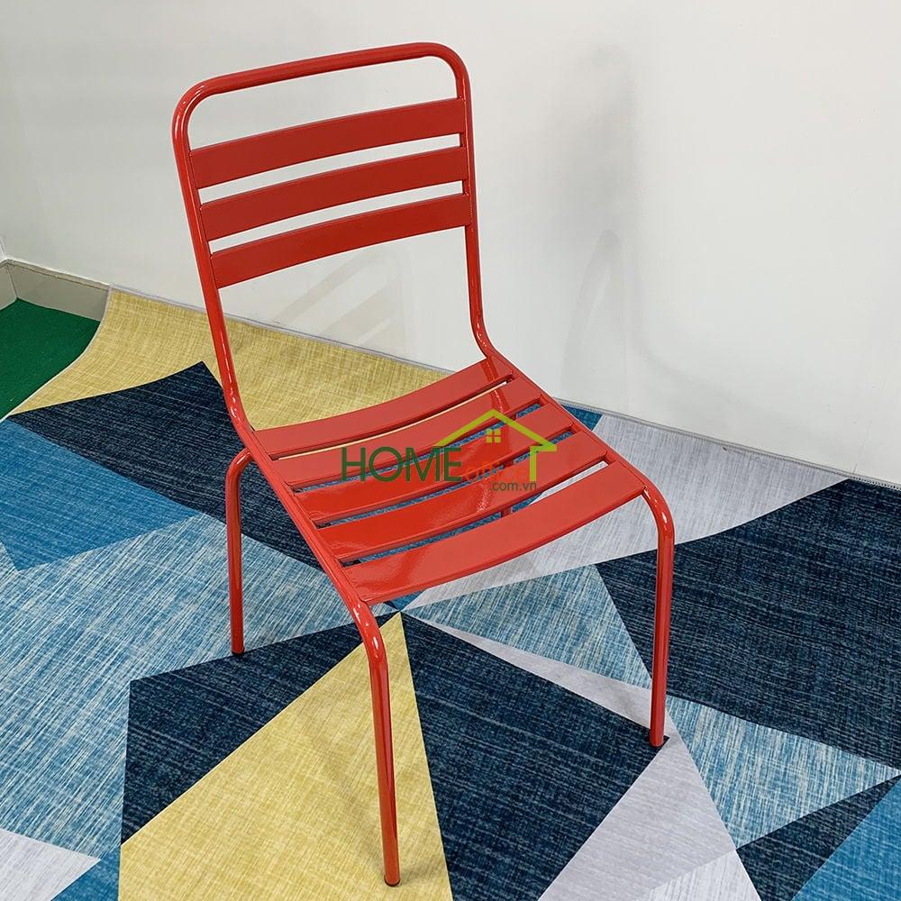 Ghế Cafe sắt sơn tĩnh điện màu Đỏ