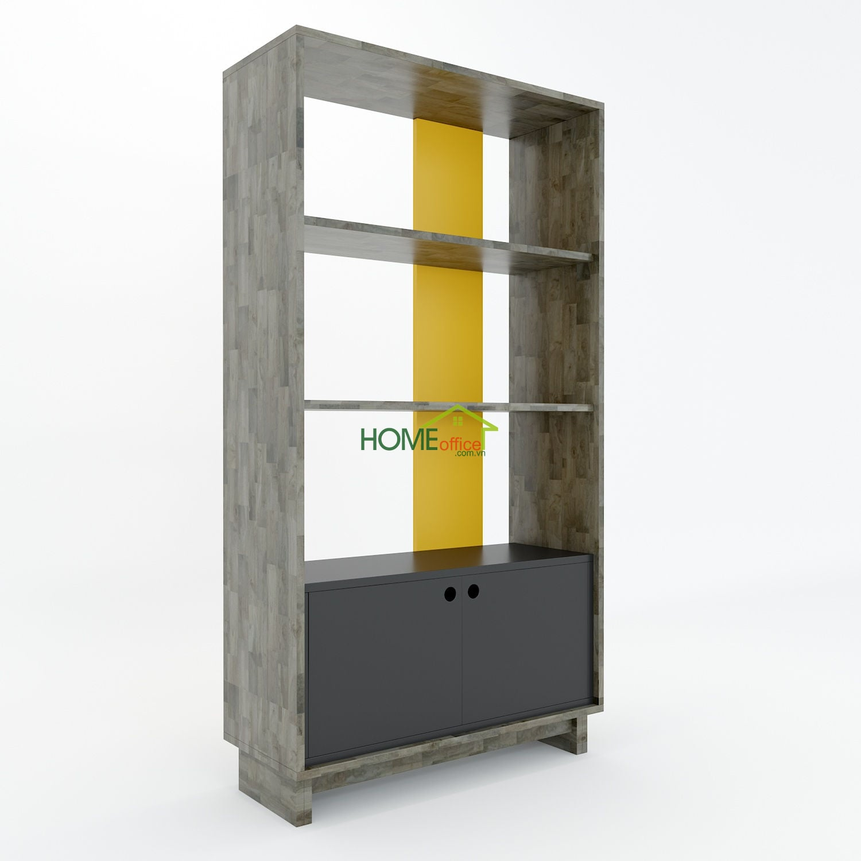 Kệ sách gỗ cao su 4 tầng tủ dưới chân gỗ (80x32x150cm)