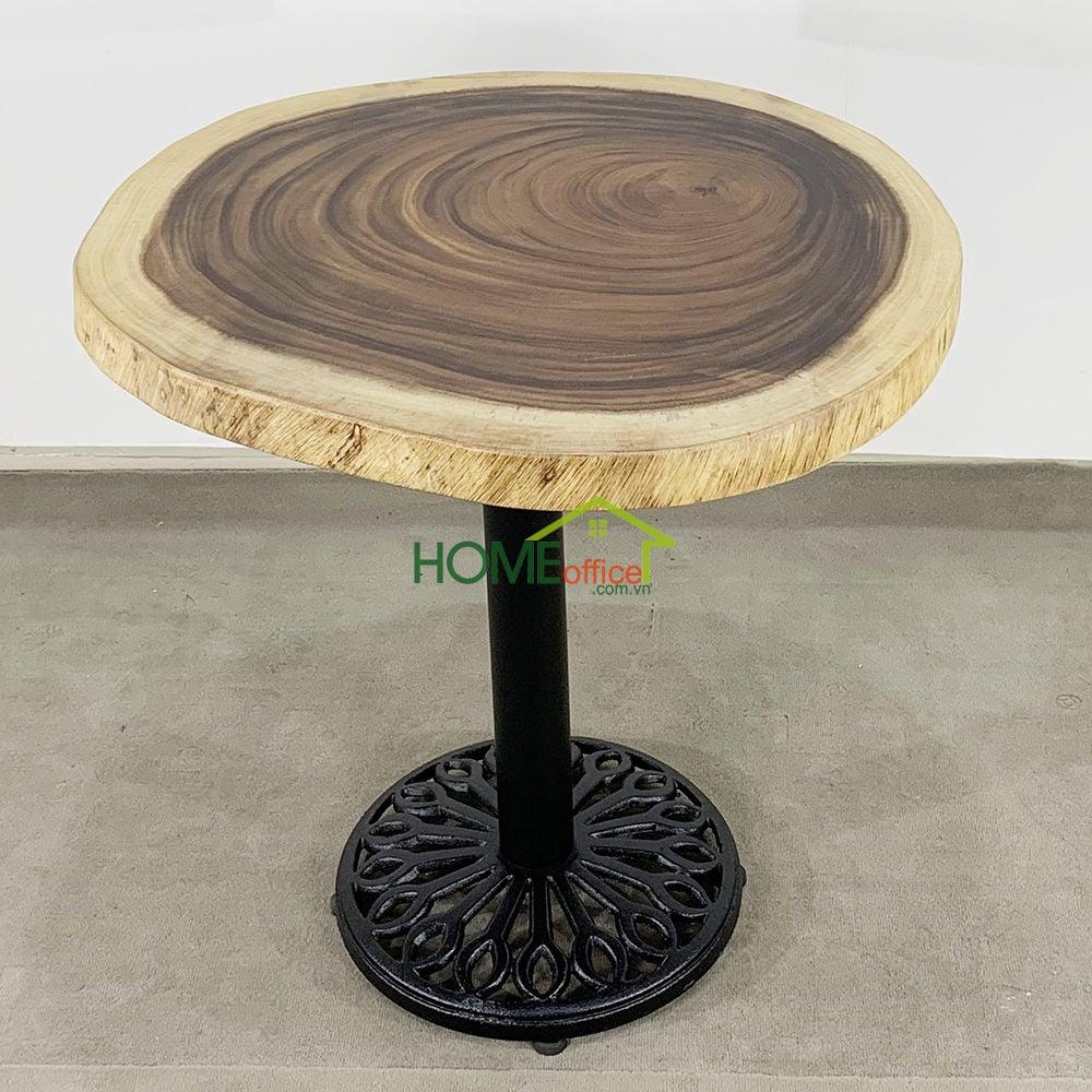 Bàn cafe gỗ Me Tây Nguyên Tấm tròn dày 5cm chân gang