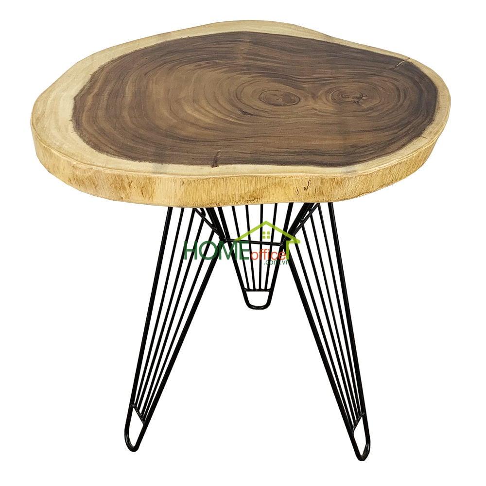 Bàn cafe tròn gỗ Me Tây Nguyên Tấm dày 5cm chân Sọc Phi