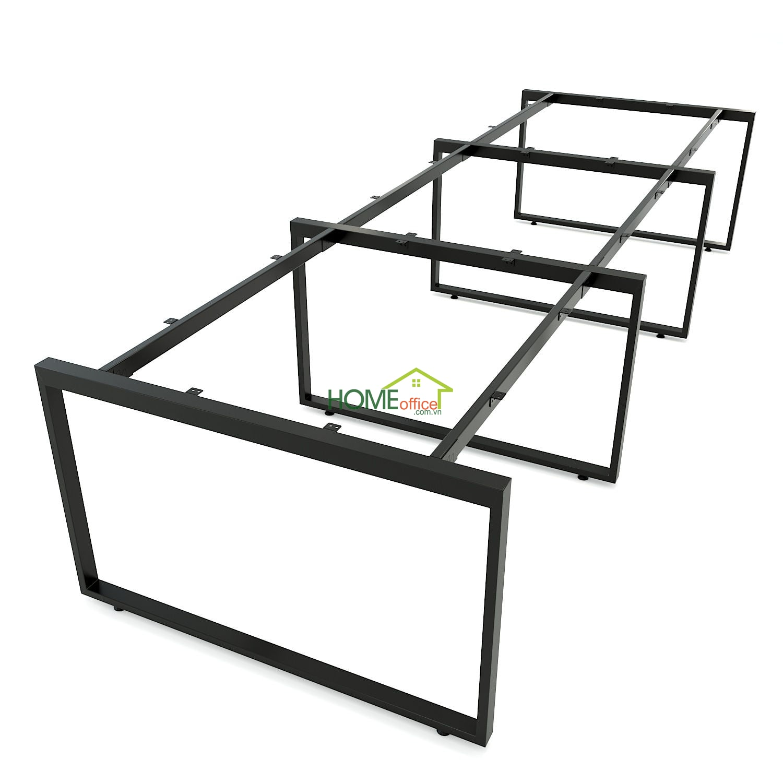 Chân sắt bàn cụm 6 hệ Rectang 120x360cm lắp ráp