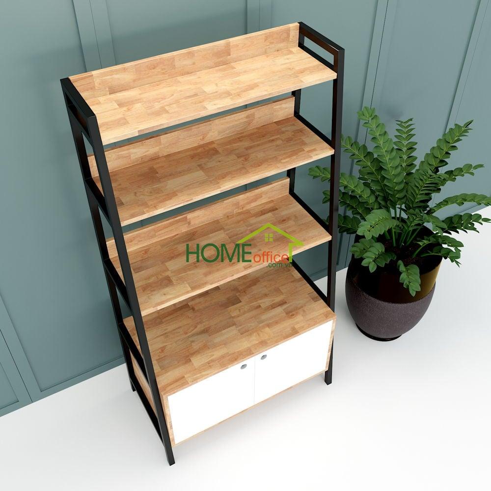 Kệ khung sắt hình thang 5 tầng có tủ gỗ cao su (85x45x160cm)