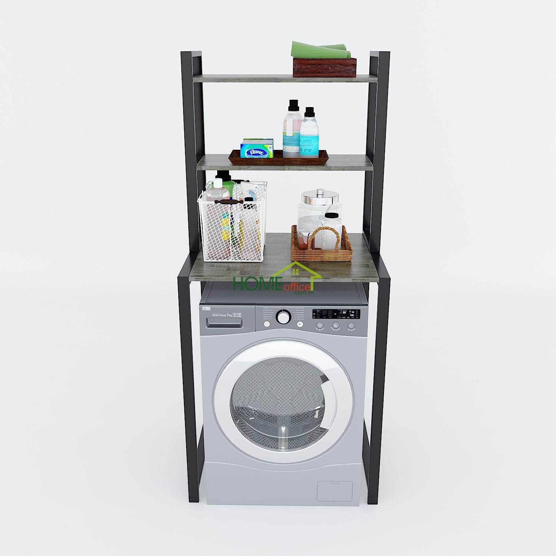 Kệ máy giặt 3 tầng gỗ cao su khung sắt