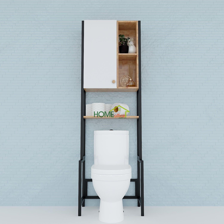 Kệ Toilet gỗ Cao Su khung sắt có tủ