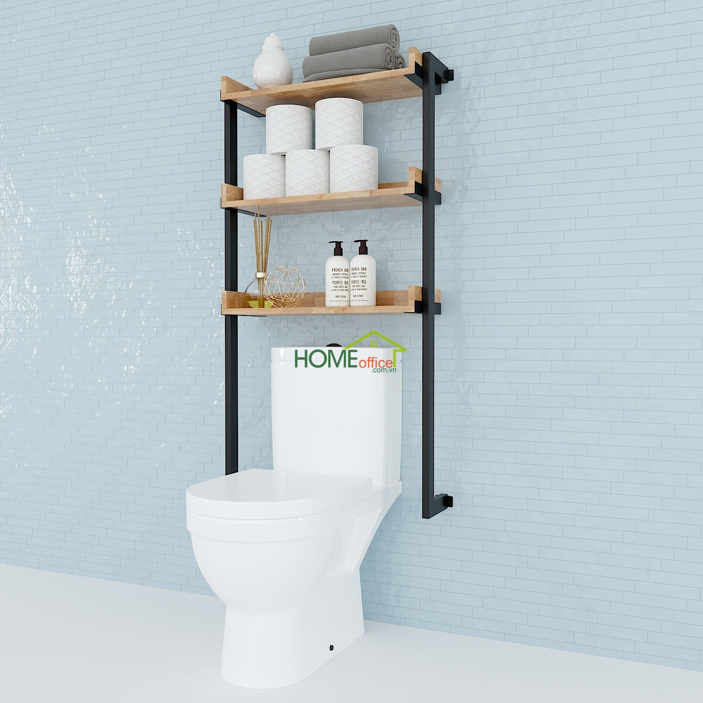 Kệ Toilet treo tường gỗ Cao Su khung sắt