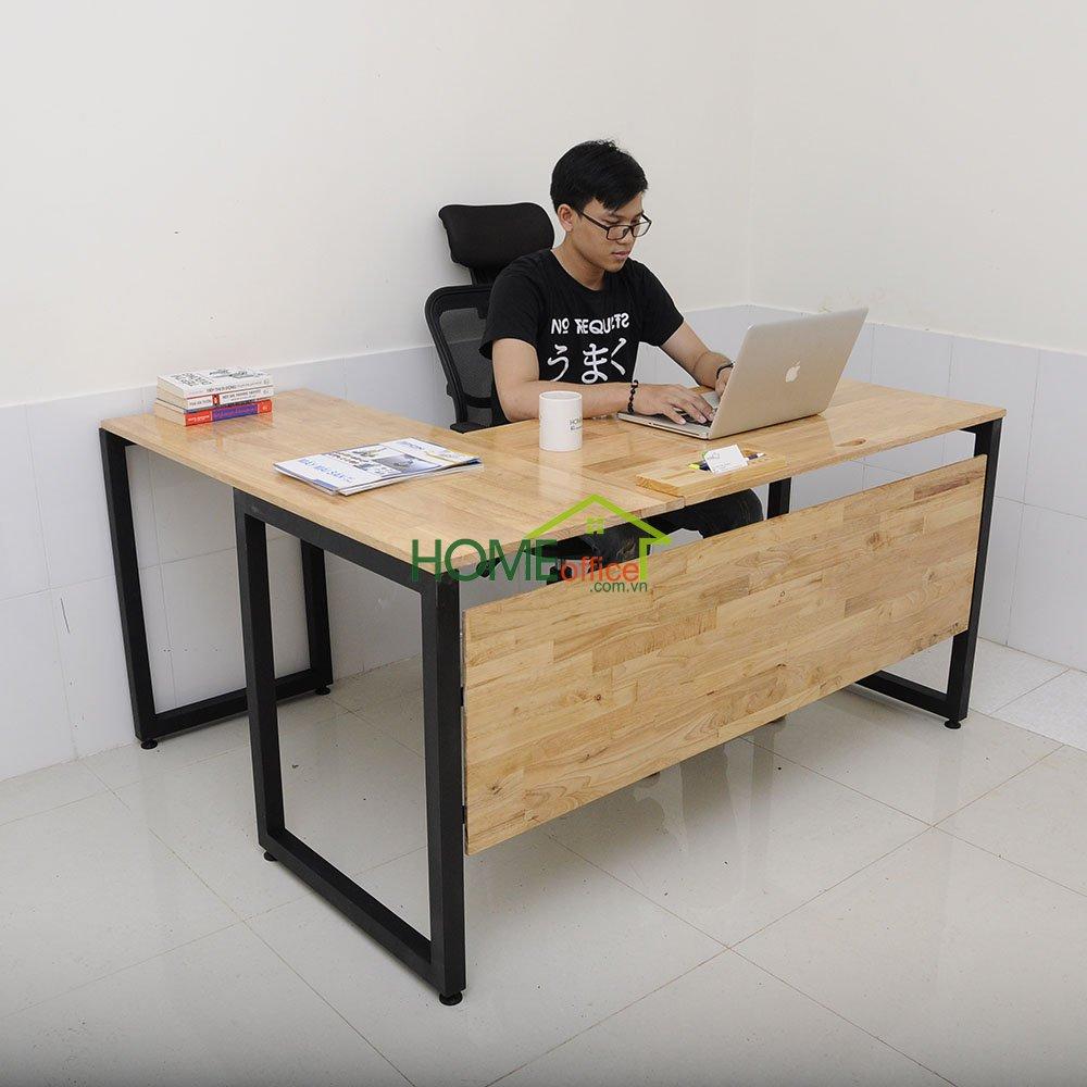 bàn góc chữ L bằng gỗ cao su