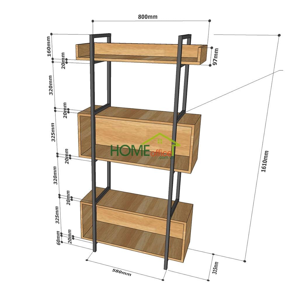 Kệ trang trí VERNON 3 Tầng 2 hộc tủ