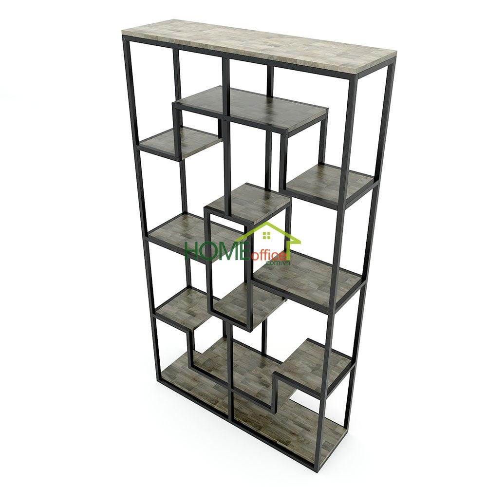Kệ trang trí gỗ khung sắt 100x30x182(cm)
