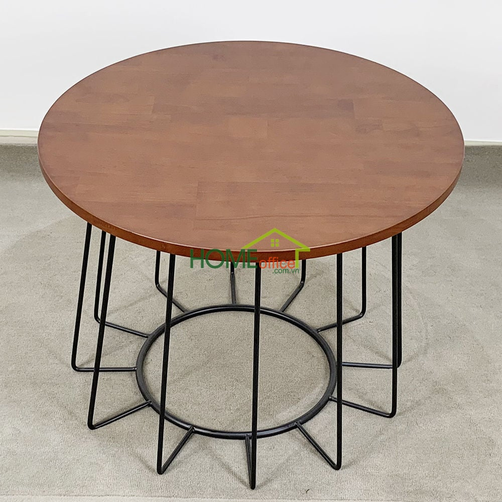 Bàn sofa mặt bàn gỗ khung sắt