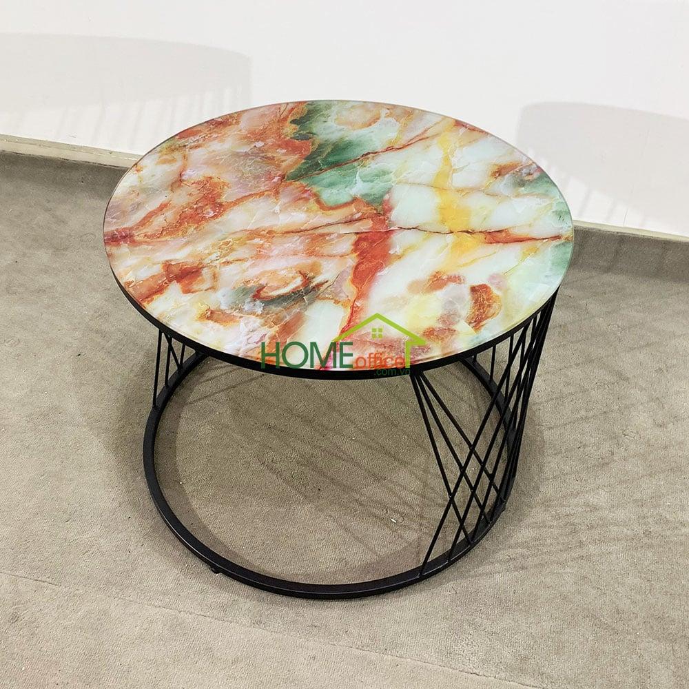 Bàn sofa mặt kính in sơn giả đá