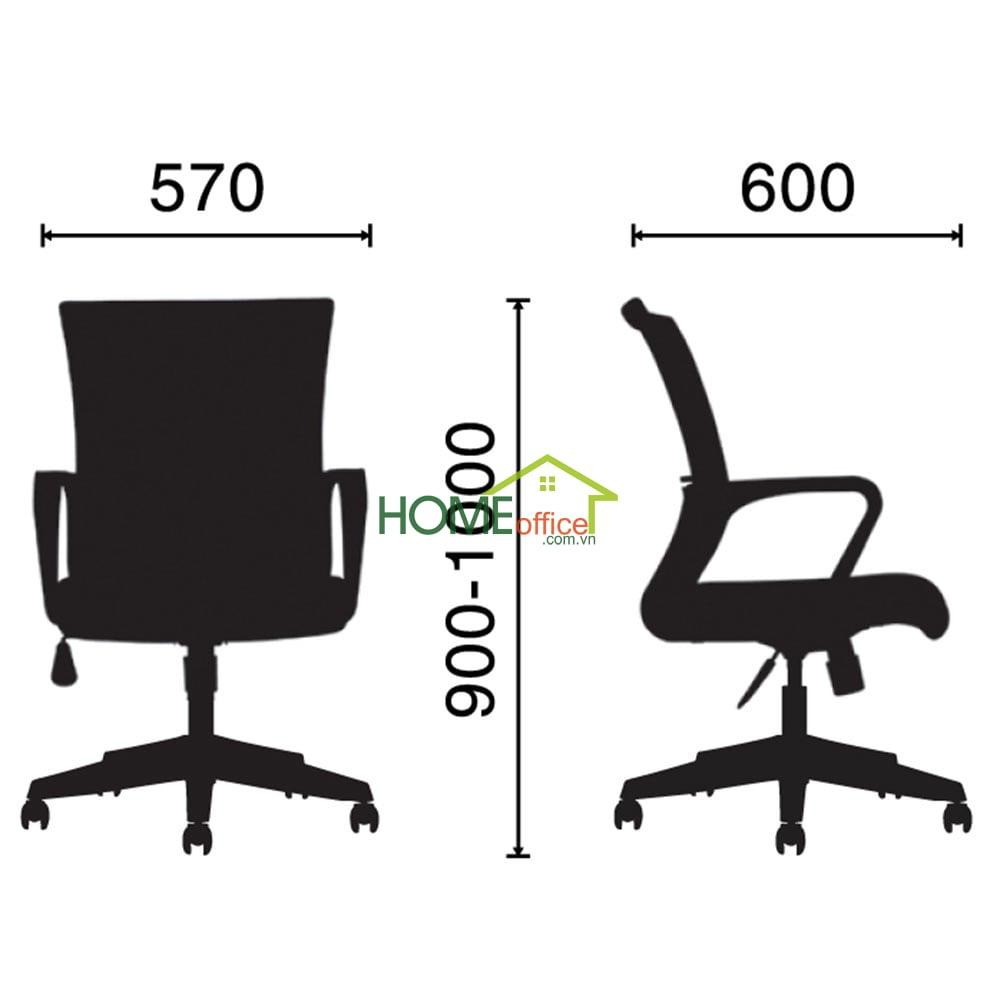 Kích thước ghế văn phòng chân xoay HOGVP028
