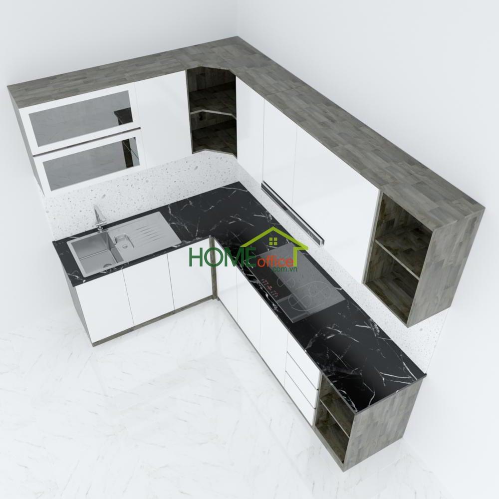 Hệ tủ bếp gỗ cao su