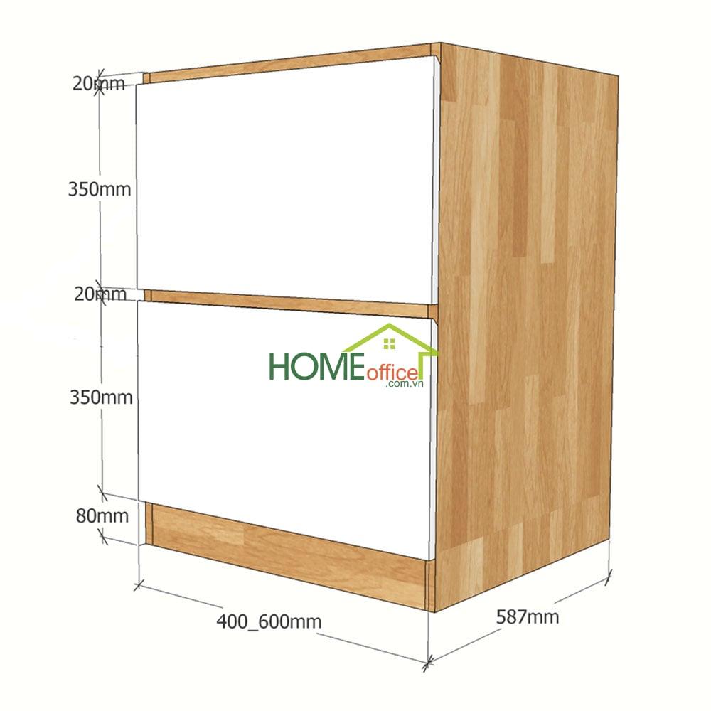 Kích thước chi tiết module tủ bếp dưới 2 ngăn  kéo