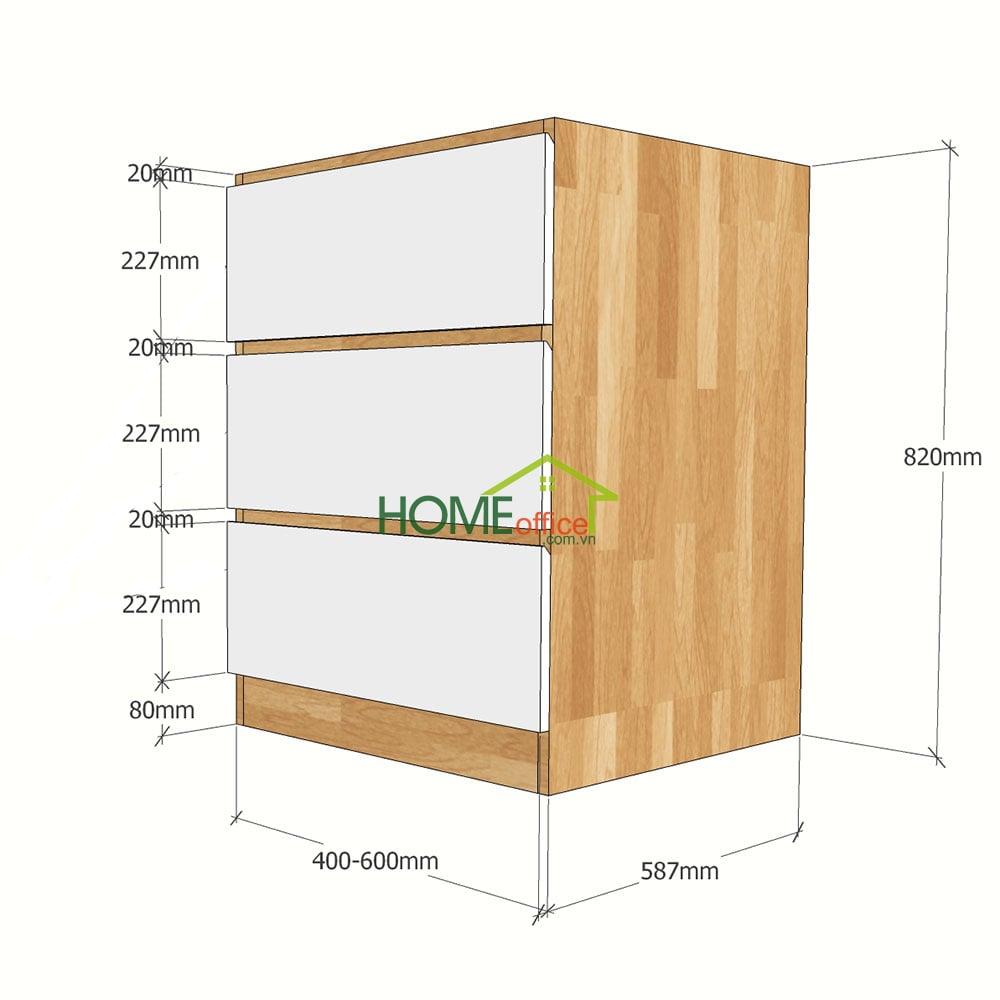 Kích thước chi tiết module tủ bếp dưới 3 ngăn  kéo