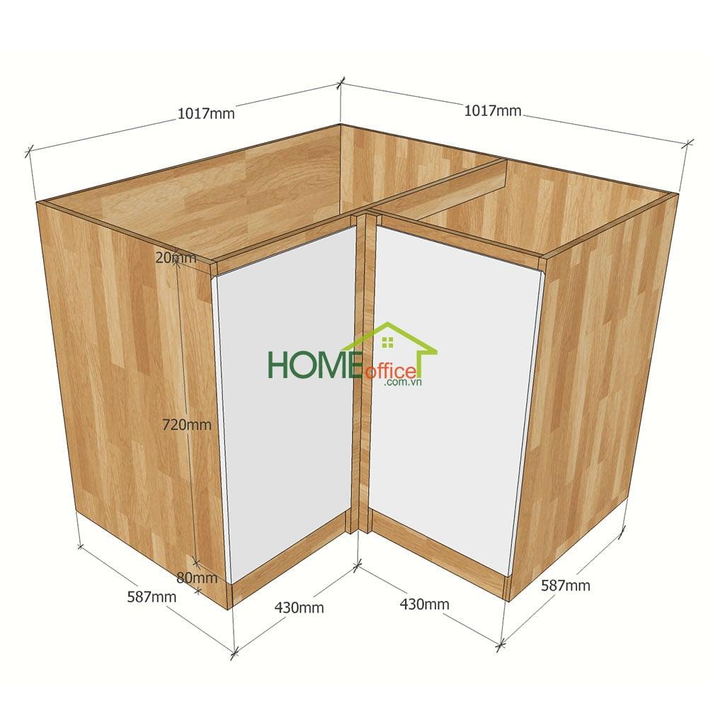 Kích thước chi tiết module tủ bếp dưới 2 ngăn  cửa mở góc L