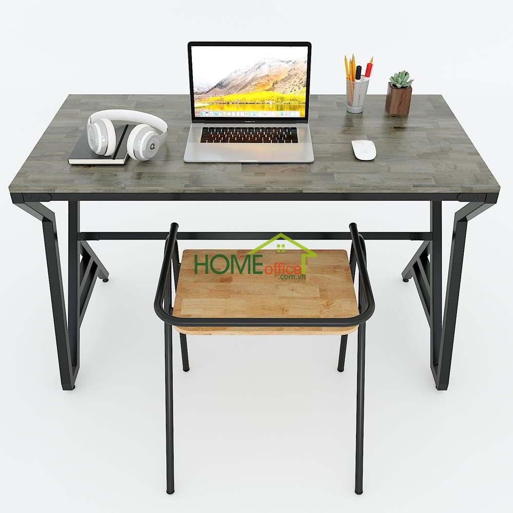 Kích thước bàn làm việc gỗ cao su chân sắt