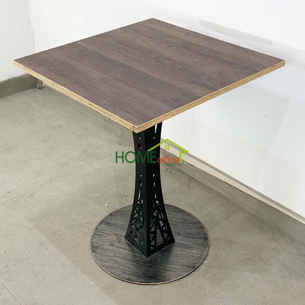 Bàn cafe gỗ plywood chân bàn gang