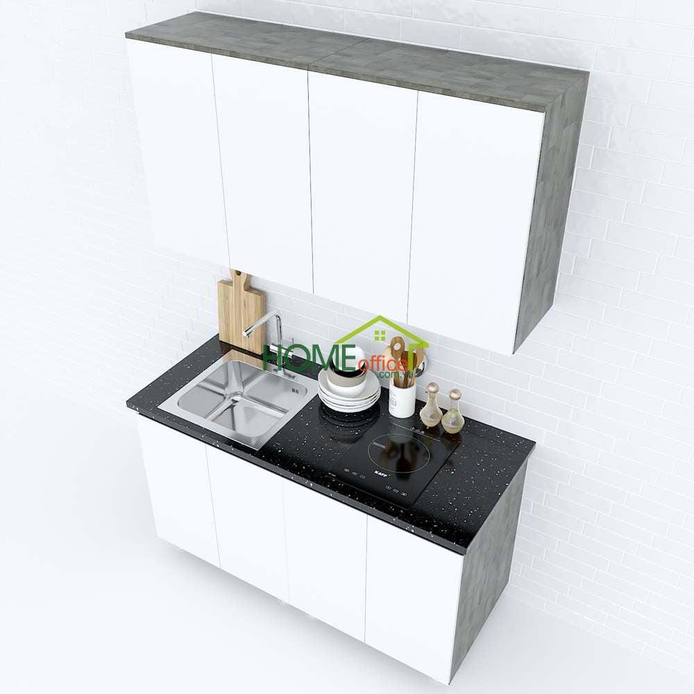 Hệ tủ bếp nhỏ gọn gỗ cao su