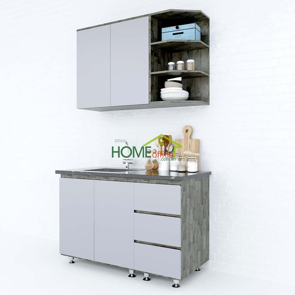 Hệ tủ bếp gỗ cao su nhỏ gọn hiện đại