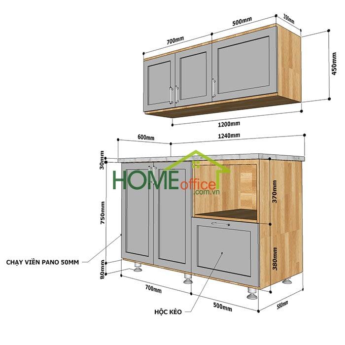 Kích thước chi tiết bộ tủ bếp mini