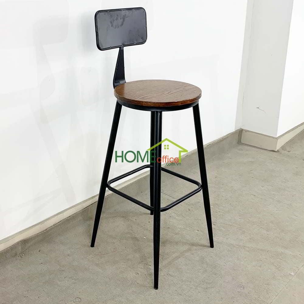 Ghế bar lưng tựa mặt ghế gỗ
