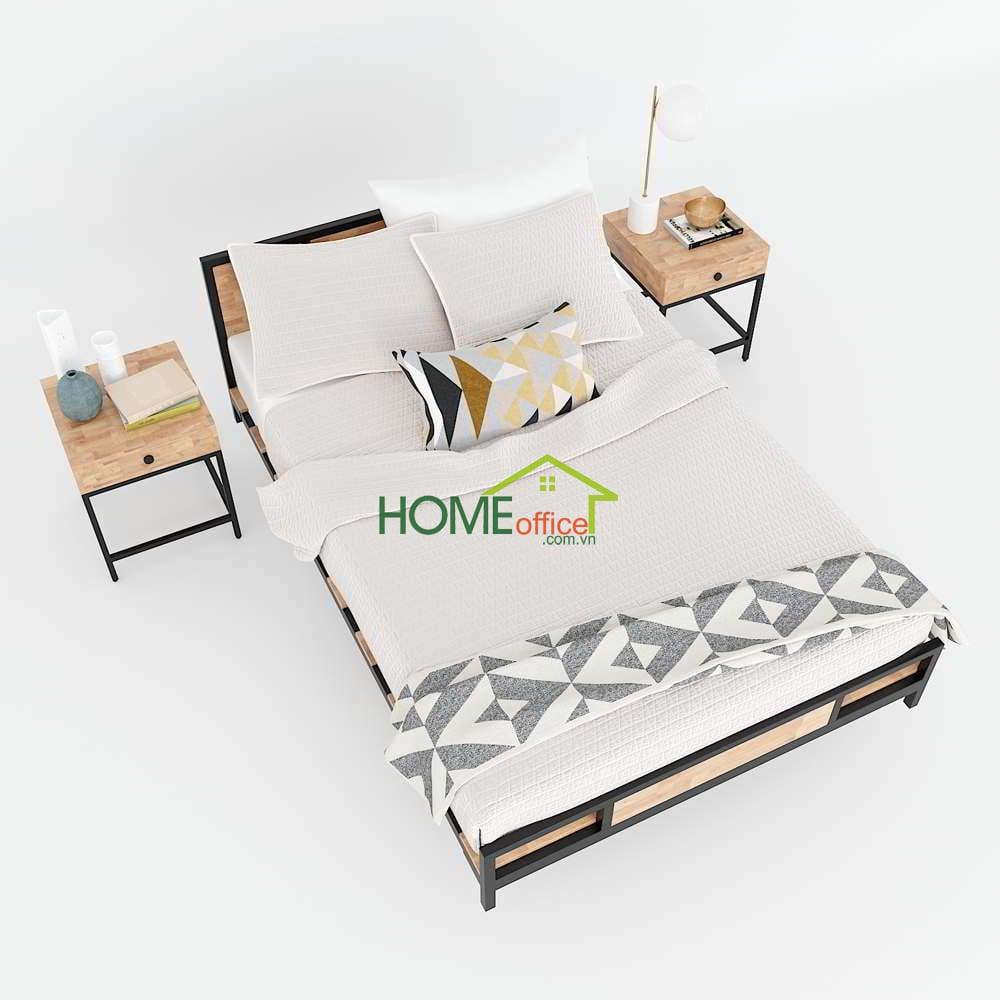 Giường ngủ gỗ cao su chân sắt lắp ráp