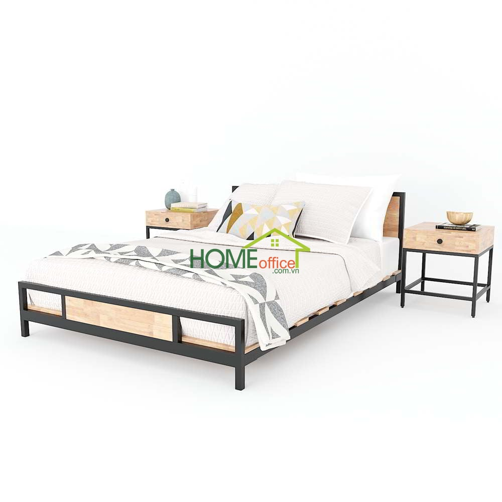 Giường ngủ gỗ cao su khung sắt lắp ráp