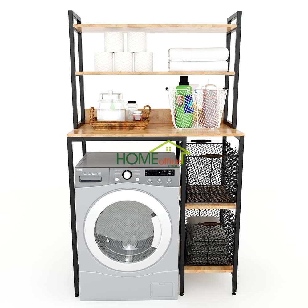 Kệ máy giặt có hộc tủ gỗ cao su khung sắt