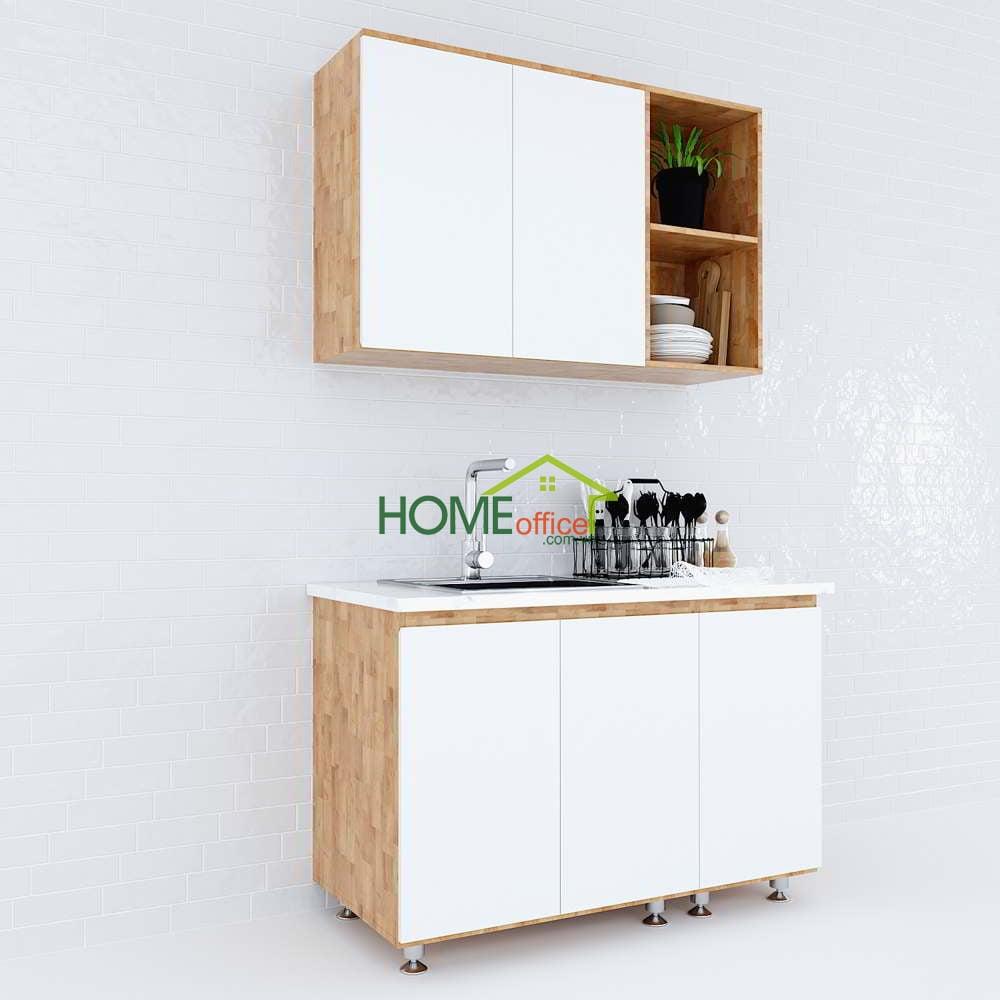 Hệ tủ bếp mini nhỏ gọn hiện đại gỗ cao su