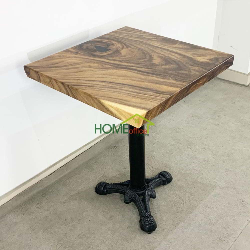 Bàn cafe vuông gỗ me tây dày 5 cm chân gang đúc 3chĩa
