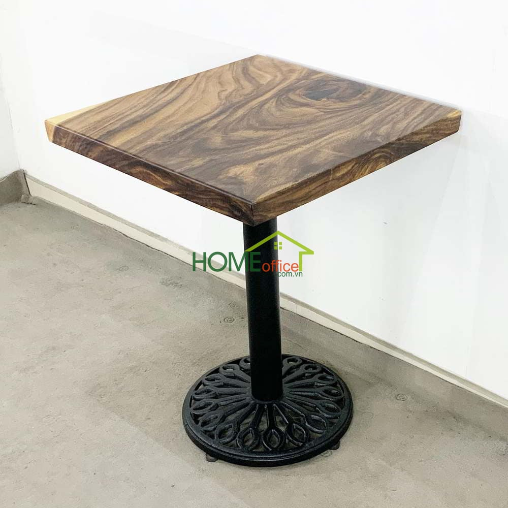 Bàn cafe vuông gỗ me tây dày 5 cm chân gang đúc