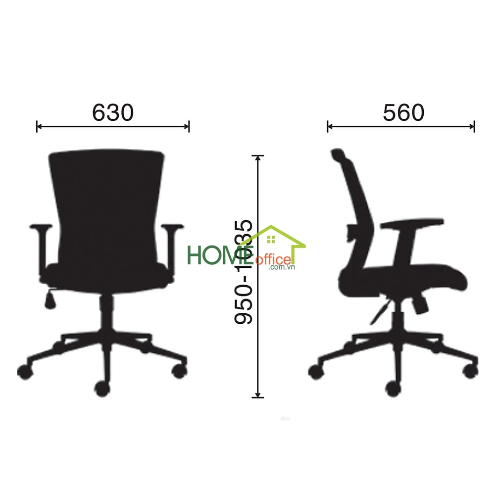 Kích thước ghế  chân xoay