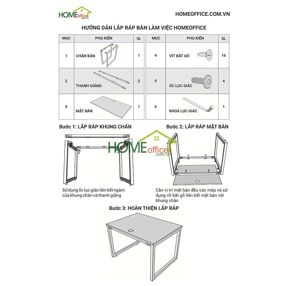 Hướng dẫn lắp ráp bàn làm việc HomeOffice