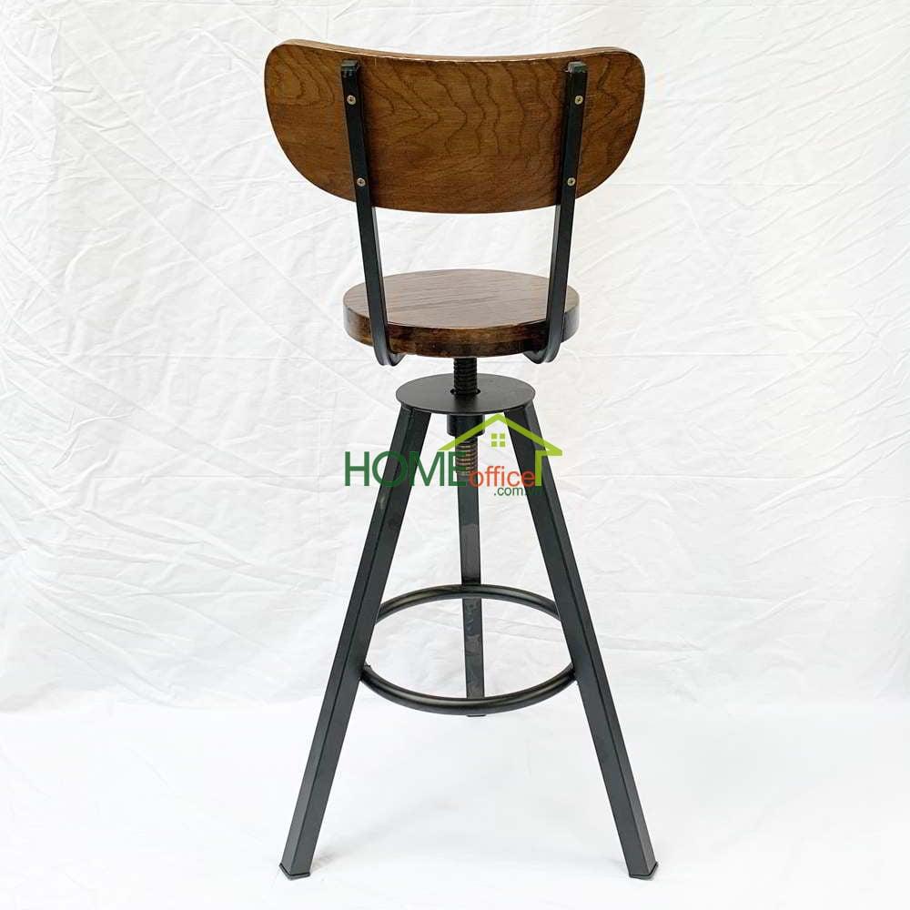 ghế bar có tựa lưng mặt gỗ chân sắt