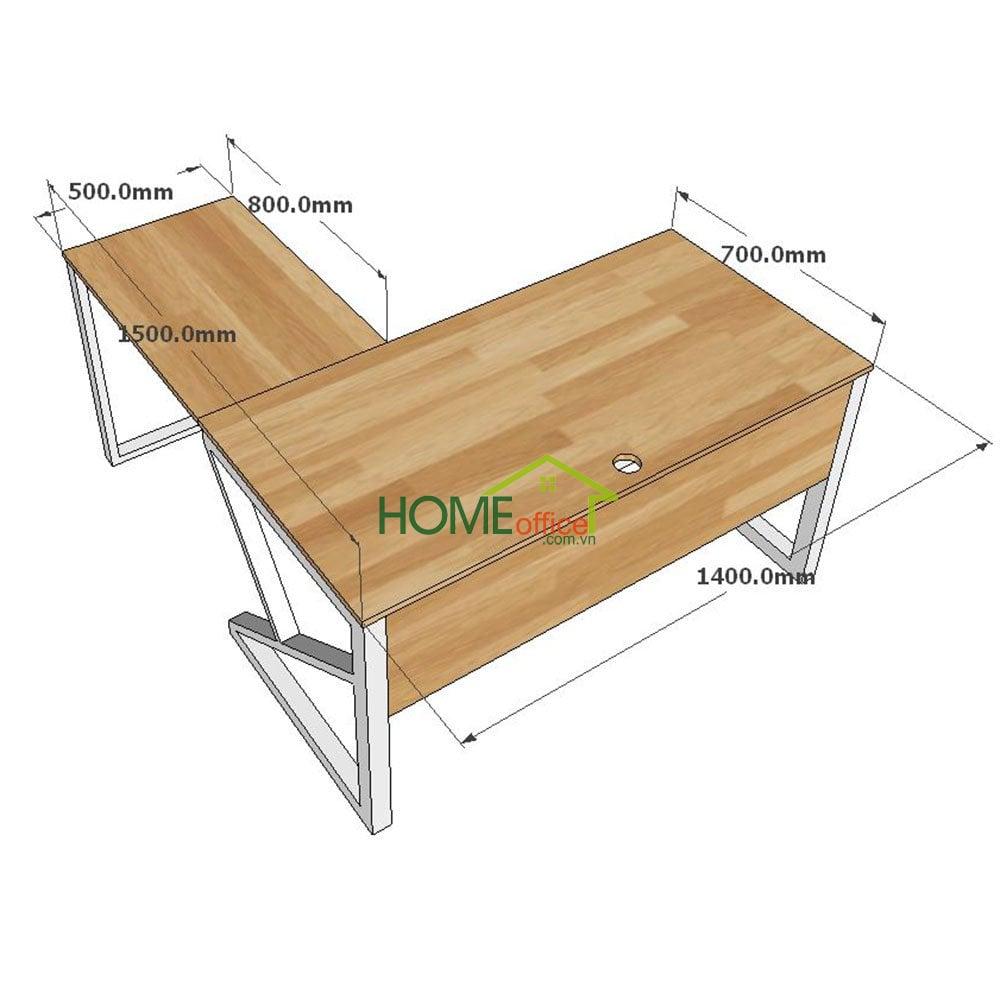 Kích thước chi tiết bàn góc L