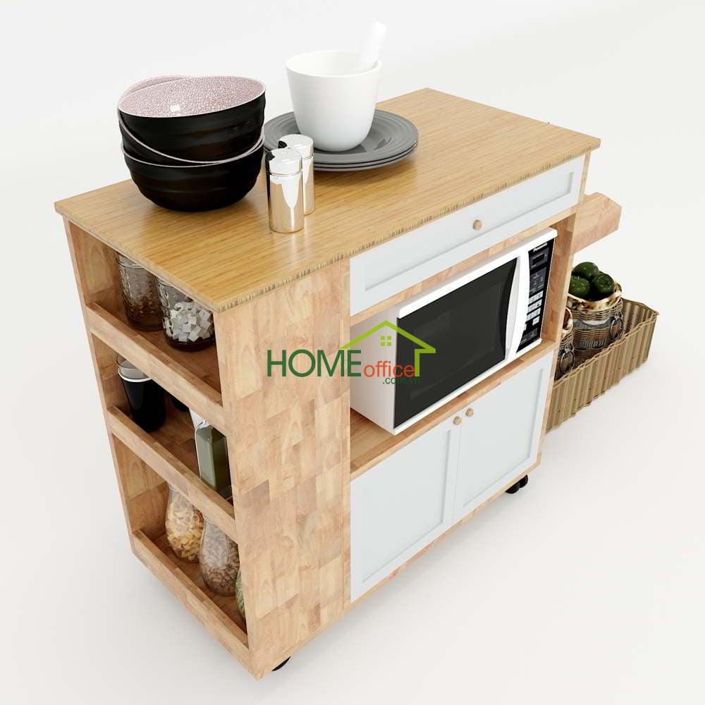 Kệ bếp di động mặt gỗ tre