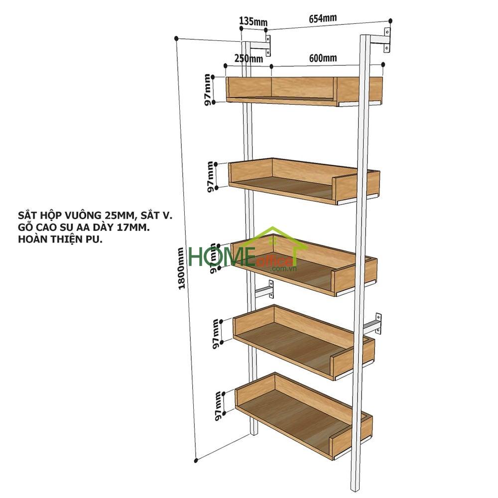 Kích thước chi tiết kệ áp tường 5 tầng